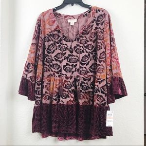 Style & Co. Boho Flowy Blouse w/Bell Sleeves NWT